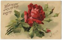 121820 LOVELY VINTAGE A/S C KLEIN RED ROSE FLORAL GREETINGS POSTCARD 1909