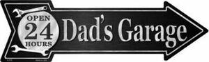 "DAD'S GARAGE METAL ARROW NOVELTY SIGN 17""x5"" MAN CAVE SPORTSROOM BAR GARAGE"