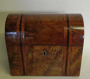 An Antique Victorian Walnut Veneer Tea Caddy.. 19th C Twin Compartment.  (337)