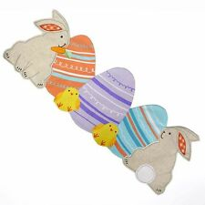 """Easter Spring Table Runner Bunnies Chicks and Eggs Embroidered 36"""""""