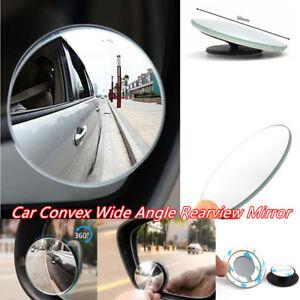2PCS Universal Car Convex Wide Angle Blind Spot Mirror Rear View 360° 50mm dia.
