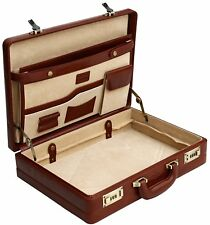 Briefcase rigid design executive leather beef authentic Inside of leather Brown