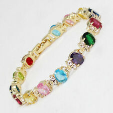 Multi-Color Red Green Pink Purple Yellow Cubic Zirconia 18KGP Crystal Bracelet