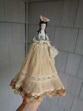 Vintage German? Porcelain Half Doll  With Net Lace Dress ~Rosettes