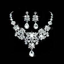 Rhinestone Crystal Pendant Necklace Earrings Jewelry Sets For Wedding Bridal