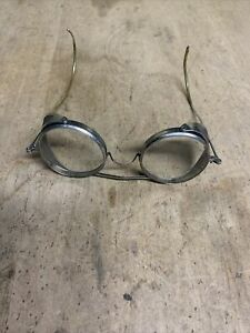 Vintage Industrial Safety Wire Rim Glasses & Side Protectors Steampunk
