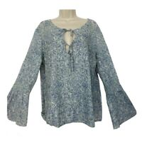American Eagle XL Top Bell Sleeve Keyhole Scoop Neck Blouse Blue Paisley Womens