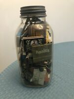 Vintage Atlas Mason Jar Full Of Old Military Buttons And Matchbooks