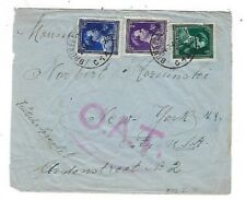 1945 Brusselles Belgium Airmail to New York OAT Onward Air Transmission 3 Stamps