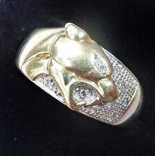 Mens 9ct Gold & Diamond Panther Ring, Size U