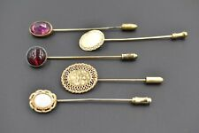 Lot 5 Vintage Hat Pins Victorian Edwardian Gold Filled Etched Opal Ruby Cabochon