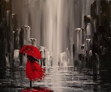 """Canvas Abstract Painting Red Umbrella Print Wall Art Modern Picture 20""""x24"""""""