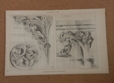 Antique Architects Print Wells Cathedral Interior Details The Builder 1888