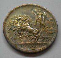 Italy 2 Lire 1914 Quadriga KM#55 Silver Coin ** UNC Luster Iridescent Toned