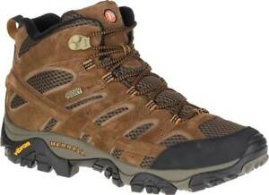 NEW Mens MERRELL Moab 2 Mid Earth Brown WATERPROOF LEATHER Hiking Boots GENUINE