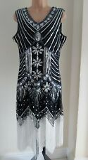 Señoras vestido del tamaño 14 de estilo Vintage Flapper Gatsby Negro Plata poste libre