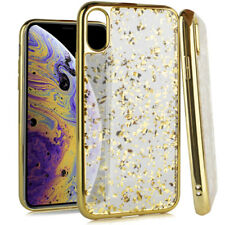 """For iPhone XS Max 6.5"""" Gold Chrome Glitter Flakes Rubber Silicone TPU Skin Case"""