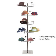Floor Standing Hat Display Rack in Chrome Finish 24.5 D x 66 H Inches