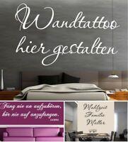 WANDTATTOO SPRUCH SELBST GESTALTEN - TEXT WANDBILD DEKO NACH WUNSCH- NAMEN ...