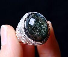 Rare Natural Green Ghost Crystal Healing Wealth Men Adjustable Ring 53.50CT