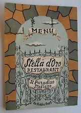 Restaurant Menu For Stella D' Ozo Restaurant 5806 B'way Wash. Hts. New York 60's