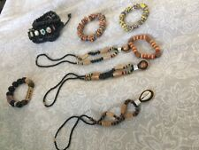 Vintage African wooden beads jewellery lot ethnic boho with A love bangle