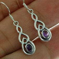 Celtic Knot Silver Earrings, set w Amethyst Stone, 925 Sterling Silver, E299