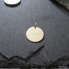 1,2 cm Gravurplatte Anhänger in 333er Gelbgold, Gravur Namenskette, GK-66/12