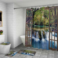 Waterfall Bathroom Waterproof Shower Curtain Non-slip Toilet Cover Mat Rug