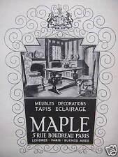 PUBLICITÉ MAPLE MEUBLES DECORATIONS TAPIS ECLAIRAGE 5 RUE BOUDREAU PARIS