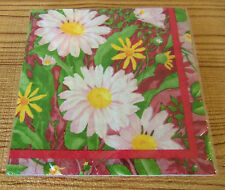 SPRING DAISY 20 PAPER DINNER LUNCHEON NAPKINS 2-PLY WHITE PINK YELLOW FLOWERS