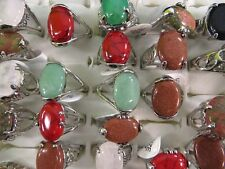 US SELLER-lot of 24 mixed color gemstone and agate stone fashion rings