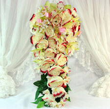 "1x 10"" Red & Cream Rose Orchid Teardrop Bridal Bouquet Wedding Silk Flowers"