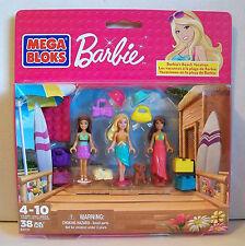 "Mega Bloks BARBIE Pack 80111 BARBIE'S BEACH VACATION 38 Pieces Inc. 3 x 2"" Dolls"