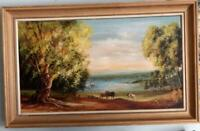 Vintage framed landscape oil painting on board of horses by the lake