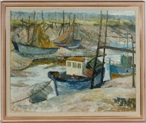 Framed 20th Century Oil - Moored Fishing Boats