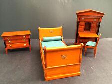 Vintage Federal Style Miniature Dollhouse Furniture Bedroom Set Desk Dresser