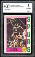 1974-75 Topps #196 George Gervin Rookie Card BGS BCCG 8 Excellent+