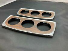 """2x Vintage Nos 8-1/2"""" Chrome Triple Gauge Panel W/ Wooden Face Fit's 2"""" Gauges"""