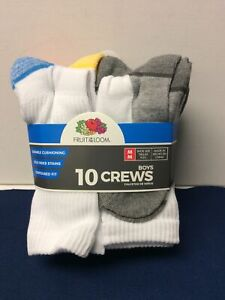 Fruit of the Loom Boys  Crew Socks 10 Pack White with Color Bottom Medium (9-2.5