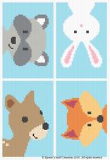 Crochet Patterns - WOODLAND ANIMAL FRIENDS Baby BOY Graph/Chart Afghan Pattern