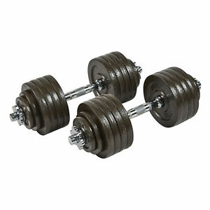 Everyday Essentials 105 Pound Adjustable Weight Dumbbell Set w/ Cast Iron Plates