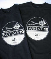 Technics SL-1210 T-Shirt twelve 10 for life, VINYL CLUB DJ - BLACK  M,L,XL,XXL