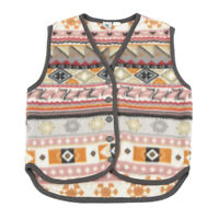 Vintage C&A Sleeveless Fleece Jacket   Small   Vest Waistcoat Pattern Retro