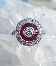 Antique Art Deco Ruby & Diamond Target Engagement Ring 0.50cts