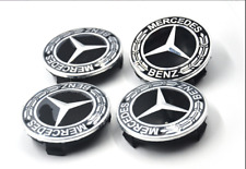 4x 75mm Genuine Wheel Center Hub Cap Rim Caps Emblem Black Fit For Mercedes Benz