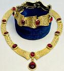 Rare TRIFARI Jewel Of India Mogul Ruby Cabochon Drop Necklace And Bracelet Set