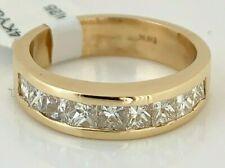 1.08 carat Princess Cut Diamonds set in 14K solid Yellow Gold Wedding Band