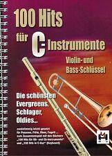 Querflöte Posaune Noten : 100 Hits für C Instrumente (Violin & Bass-Schlüssel)