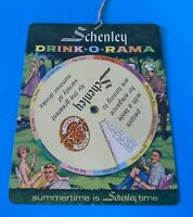 Vintage Schenley DRINK-O-RAMA Spinning Circle cocktail Mixer guide NM unused